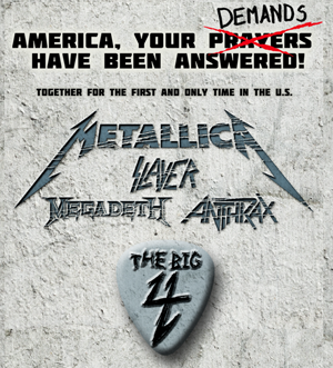Metallica, Slayer, Megadeth and Anthrax to Play 'Big 4' Show In April