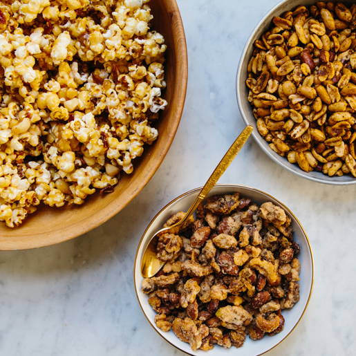 Bacon Caramel Corn, Bacon Fat Peanuts & Thyme Candied Nuts: Three Sweet-and-Salty Party Snacks