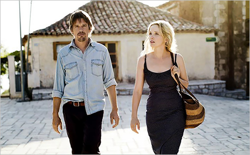 Ethan Hawke and Julie Delphy walking in the film