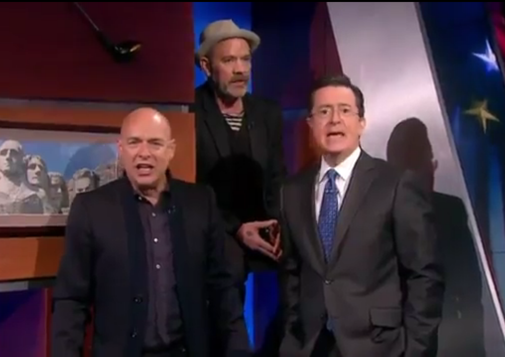 Watch Stephen Colbert, Brian Eno and Michael Stipe Sing Together