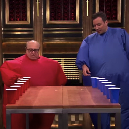 Watch Jimmy Fallon Play Inflatable Flip Cup with Danny DeVito