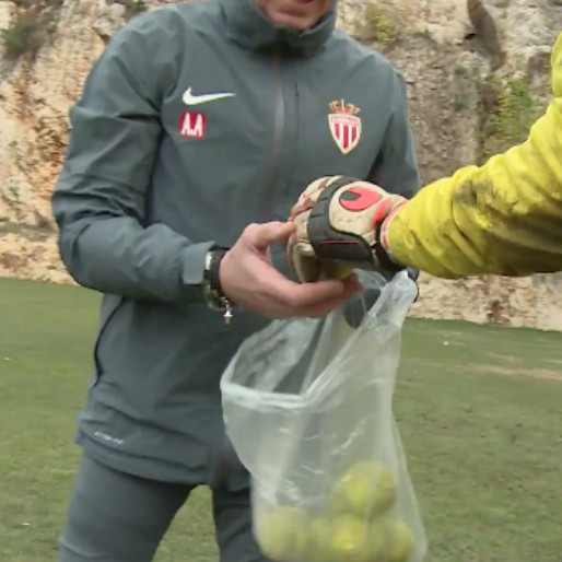 AS Monaco Goalkeepers Trains With A Tennis Ball