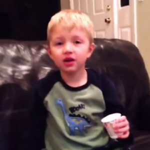 Watch a Kid Holding a Dixie Cup Recite All the Bad Words He Knows