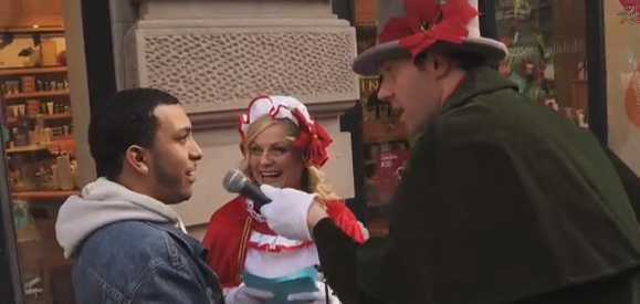 Watch Amy Poehler and Billy Eichner go Speed Caroling in New York City