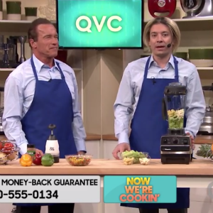 """Watch Jimmy Fallon Get a Frustrated Arnold Schwarzenegger to Yell """"Get to the Choppa"""""""