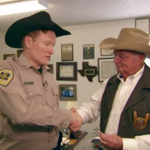 Watch Conan Transform Into a Trigger-Happy Texas Deputy