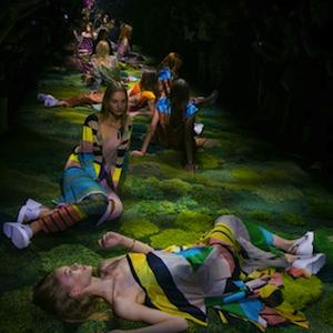 Dries Van Noten Has Models Sit on Mossy Catwalk at Paris Fashion Week