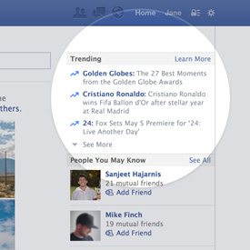 Facebook Launches Trending News Feed Feature