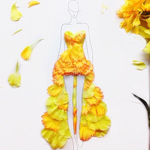 Fashion Illustrator Turns Petals into Beautiful Gowns