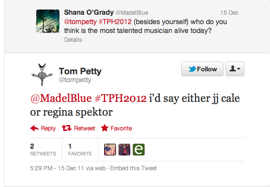 Regina Spektor Tom Petty Tweet