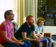 The band plays Super Smash Brothers in their Atlanta hotel..