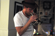 Wesley Schultz plays the trumpet in the SPACE green room.