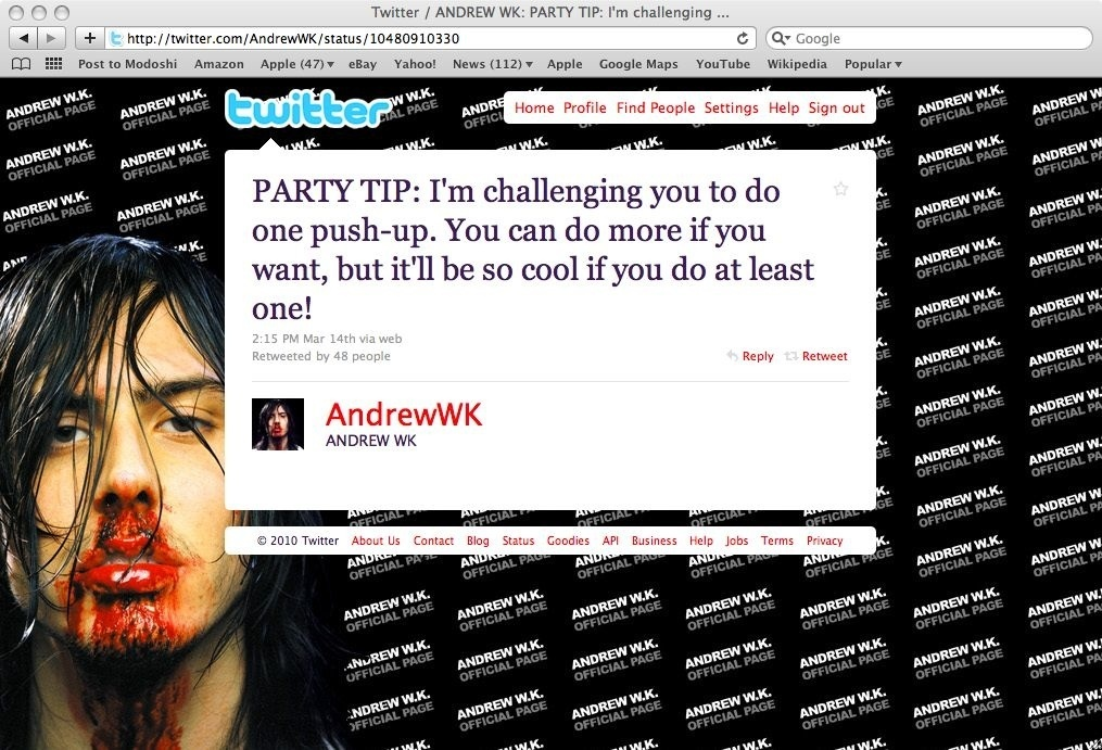 Andrew W.K.'s Most Ridiculous Party Tips So Far