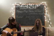 Klara and Johanna Söderberg, of First Aid Kit, wait around the green room at The Buckhead Theater in Atlanta before they go on stage for their second to last tour date with Lykke Li.