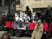 There were plenty of great Star Wars costumes, but the frozen Han Solo makes this float.