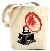 "<a href=""http://www.etsy.com/listing/55189819/recyled-tote-bag-red-phonograph"">Recycled Tote Bag by PaisleyMagic, perfect for toting LPs (Etsy, $19.99)</a>"