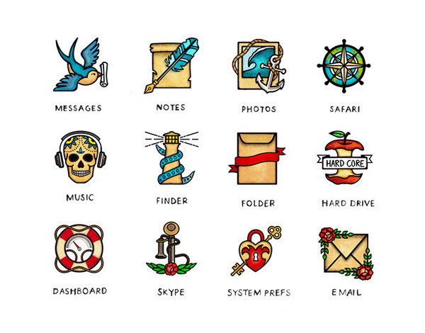 Desktop Icon Set Inspired By Vintage Tattoo Art