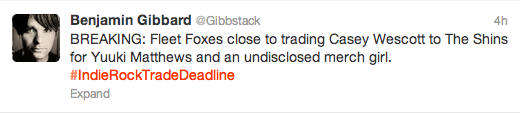 "20 Awesome ""Indie Rock Trade Deadline"" Tweets"
