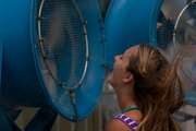 Lollapalooza fan cooling off.