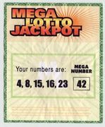 Hurley's winning lottery ticket with the now-famous cryptic numbers