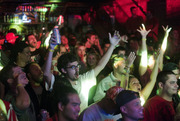 The crowd reacts to judge and headliner, Skratch Bastid during his set.