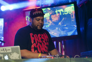 DJ Shub plays his winning set on stage at the third pre-qualifier in Chicago, Ill.
