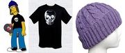 Jimbo's tough-guy skull t-shirt (theboldbanana, $12.00) and purple beanie (TrinaBrielle, $34.00)