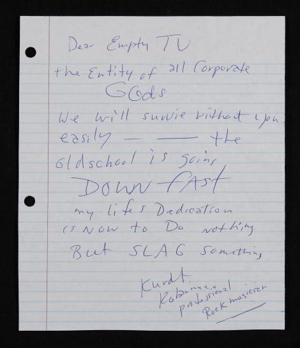 Kurt Cobain's Unsent MTV Note Now Up for Auction
