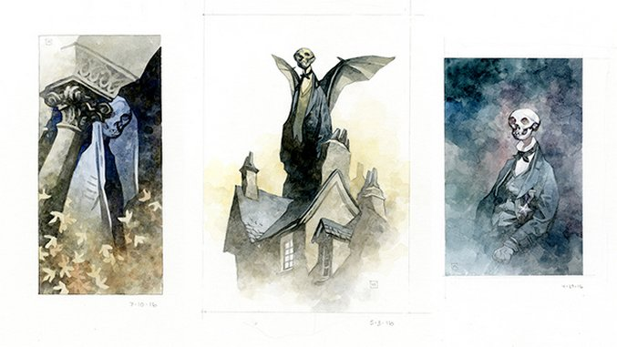 Mike Mignola's Post-<i>Hellboy</i> Watercolors Are Pacifying Portraits of Mortality