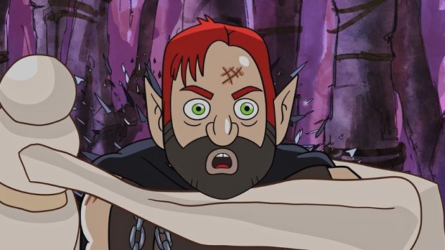 Dan Harmon Gets Squeezed By Some Big Ol' Bones in This <i>Harmonquest</i> Clip