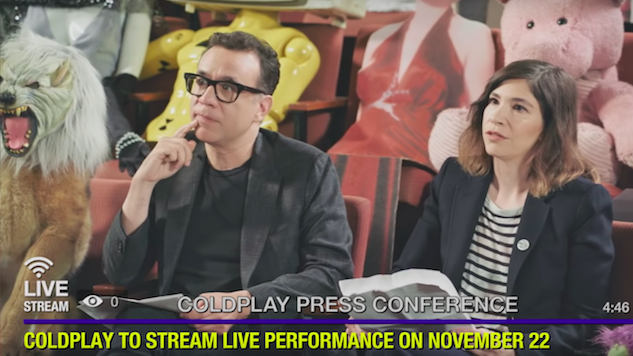 Watch Carrie Brownstein and Fred Armisen Skewer Coldplay in Mock <i>Everyday Life</i> Press Conference