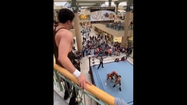 This Guy Dove Off a Shopping Mall Balcony in the Name of Pro Wrestling