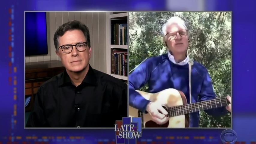 "Watch Stephen Colbert Try to Stop Steve Martin from Playing ""We Are the World"""