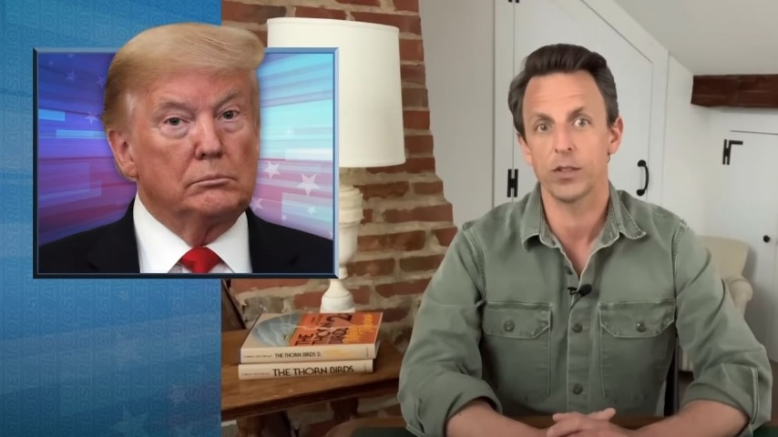 Seth Meyers Takes a Closer Look at Trump's Mask Factory Tour and Rush to Reopen the Country