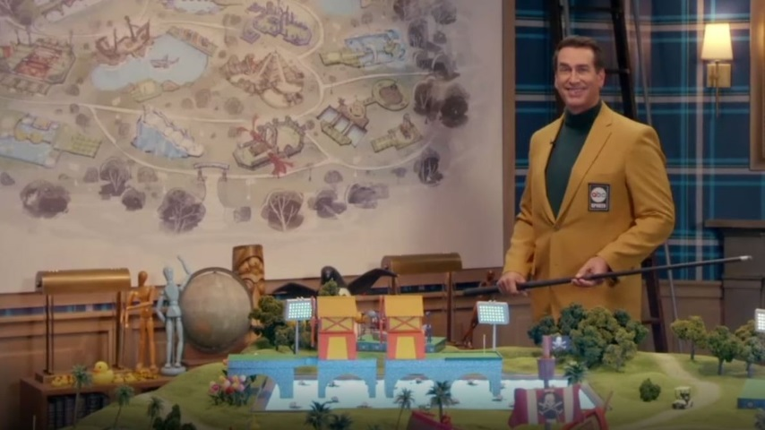 Rob Riggle Channels Walt Disney While Showing Off <i>Holey Moley</i>'s New Mini-Golf Course