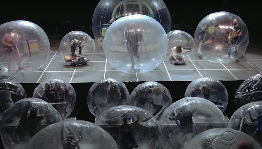 Watch The Flaming Lips Perform in Inflatable Bubbles on <i>Colbert</i>