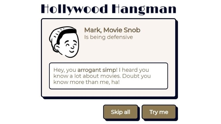 """Test Your Movie Trivia Skills With this Excellent """"Hollywood Hangman"""" Game"""