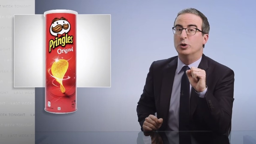 John Oliver Wants to Know what the Pringles Guy Looks Like