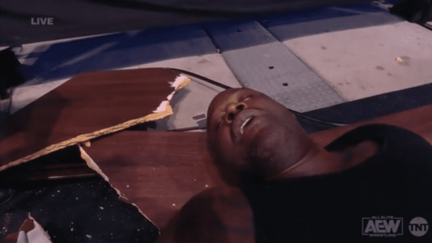 Watch Shaq Go Through Two Tables During His AEW Wrestling Match