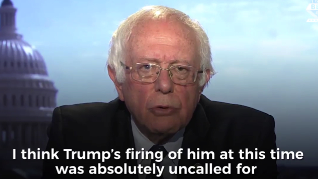 """Watch: Bernie Sanders Calls Trump Firing Comey """"A Threat to the Rule of Law in Our Country"""""""