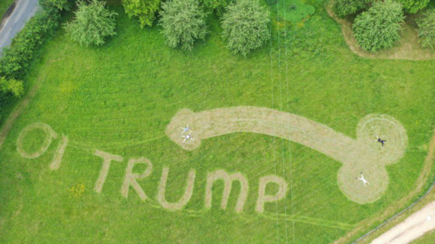 U.K. Teen Greets Trump By Mowing Giant Phallus Into Field Near Airport