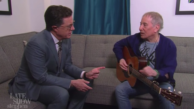 "Watch Paul Simon and Stephen Colbert Reinvent ""Feelin' Groovy"" for Trump Era"