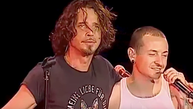 "Watch Chris Cornell and Chester Bennington Sing ""Hunger Strike"" Together"