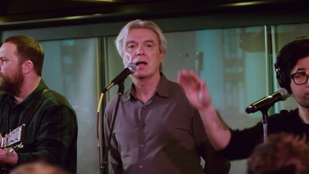 "David Byrne Releases Official Video for His Choir-Backed Cover of David Bowie's ""Heroes"""