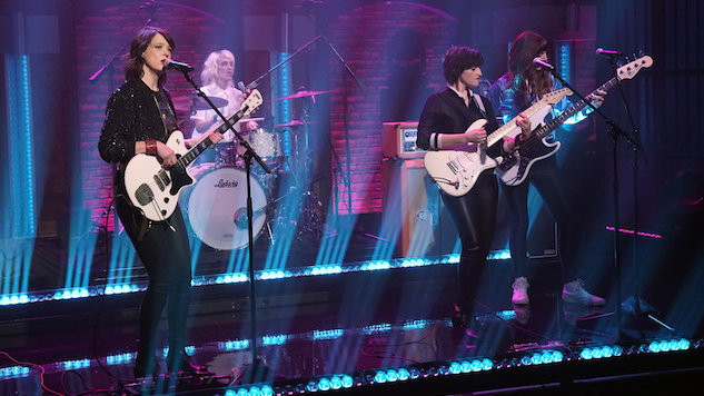"Watch Ex Hex Shred Through ""Cosmic Cave"" on <i>Seth Meyers</i>"