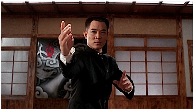 Jet Li in a fighting stance