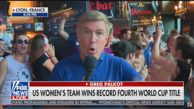 "Watch This Fox News Correspondent Get Interrupted by Crowd Chanting ""F*ck Trump"" in a French Bar"