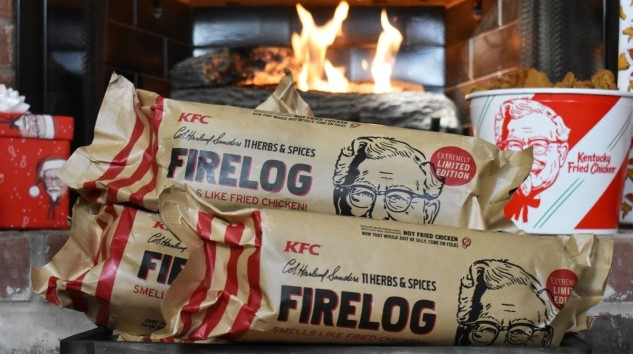 Capture the Holiday Spirit with KFC's Insane New CHICKEN SCENTED Firelog