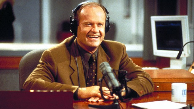 Dr. Frasier Crane sitting at his desk in the radio studio