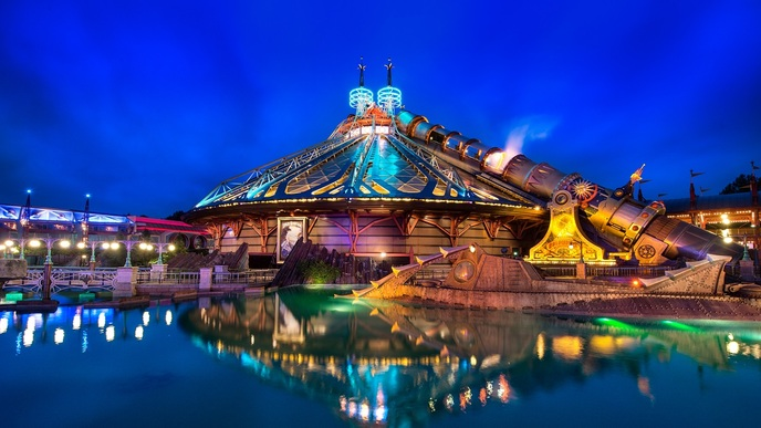 Disneyland Vacation in Paris During Winter and Summer at night